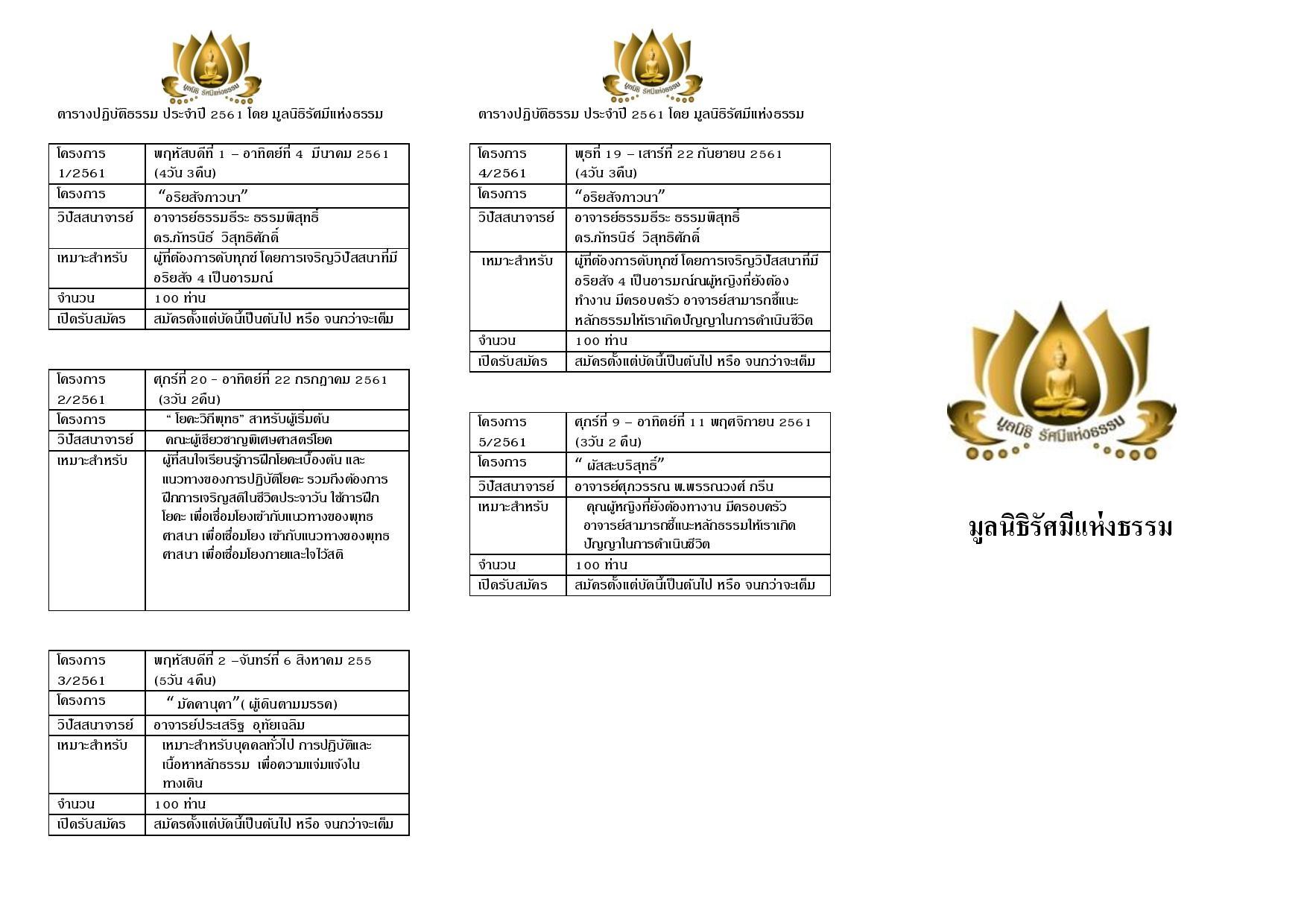 dhamma schedule 61